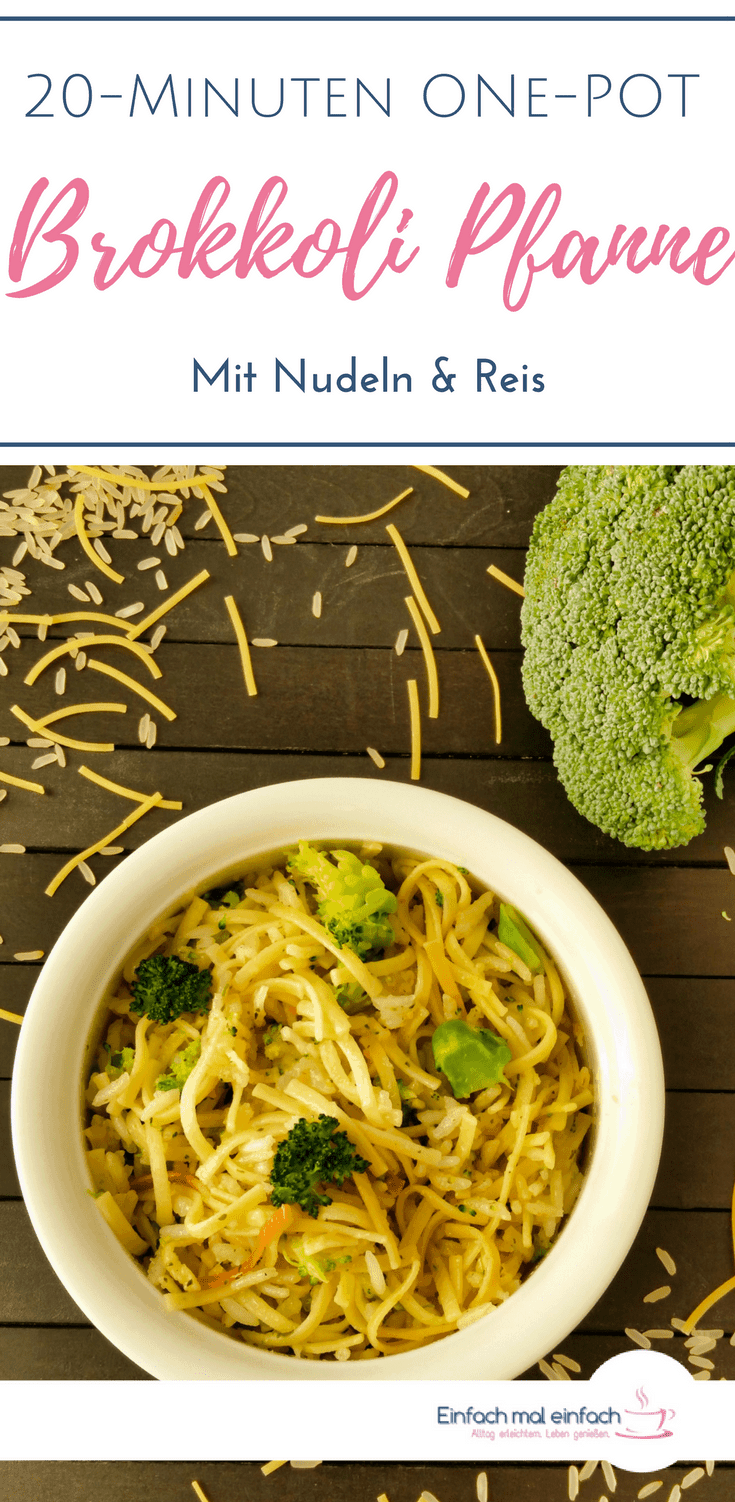 Eine schnelle Reis Pfanne oder One Pot Nudel Gericht? Hier musst Du Dich nicht entscheiden, denn dieses vegetarische, super schnelle one pan Rezept verbindet beides in einem. Mit Brokkoli in ganz kleinen Stückchen können sich sogar Kinder mit etwas Gesundem anfreunden. #brokkoli #onepot #reis #nudeln #pasta