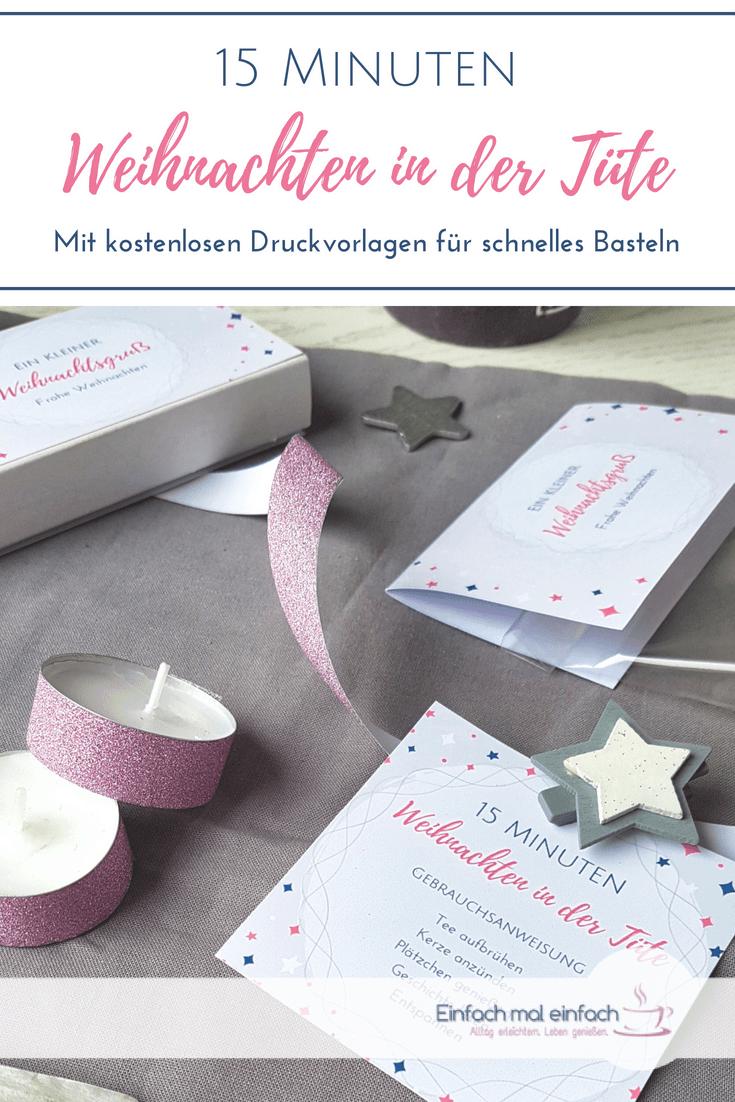 Um 15 Minuten Weihnachten in der Tüte zu verschenken, benötigst Du nur wenige Zutaten zum Basteln. Hier findest Du kostenlose Vorlagen und Links, sowie eine Anleitung, wie Du dieses Geschenk zu etwas Besonderem machen kannst. #weihnachten #weihachtsgeschenke #basteln ##kleinegeschenke #bastelnmitkindern #besinnlichkeit #tee #deko #weihnachtsdeko #plätzchen #verschenken #geschenktüte #vorlagen #kostenlos