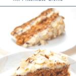 """Möhrenkuchen mit Frischkäsefrosting auf hellem Teller. Text:""""Schneller Möhrenkuchen mit Frischkäse-Creme."""""""