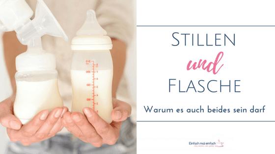 Frau hält Babyflasche und Milchpumpe ins Bild. Text: