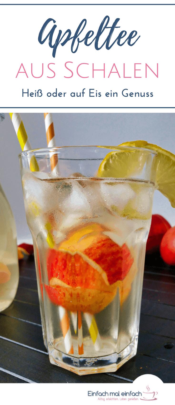 Wenn Du Dir vorgenommen hast, mehr Tee zu trinken, dann kannst Du ganz leicht einen Apfelschalentee selber machen. Dieses einfache DIY Rezept ist eine großartige Möglichkeit, Apfelschalen zu verwerten. Und er schmeckt nicht nur heiß in der kalten Jahreszeit, sondern auch auf Eis. #apfeltee #resteverwertung #äpfel #selbermachen