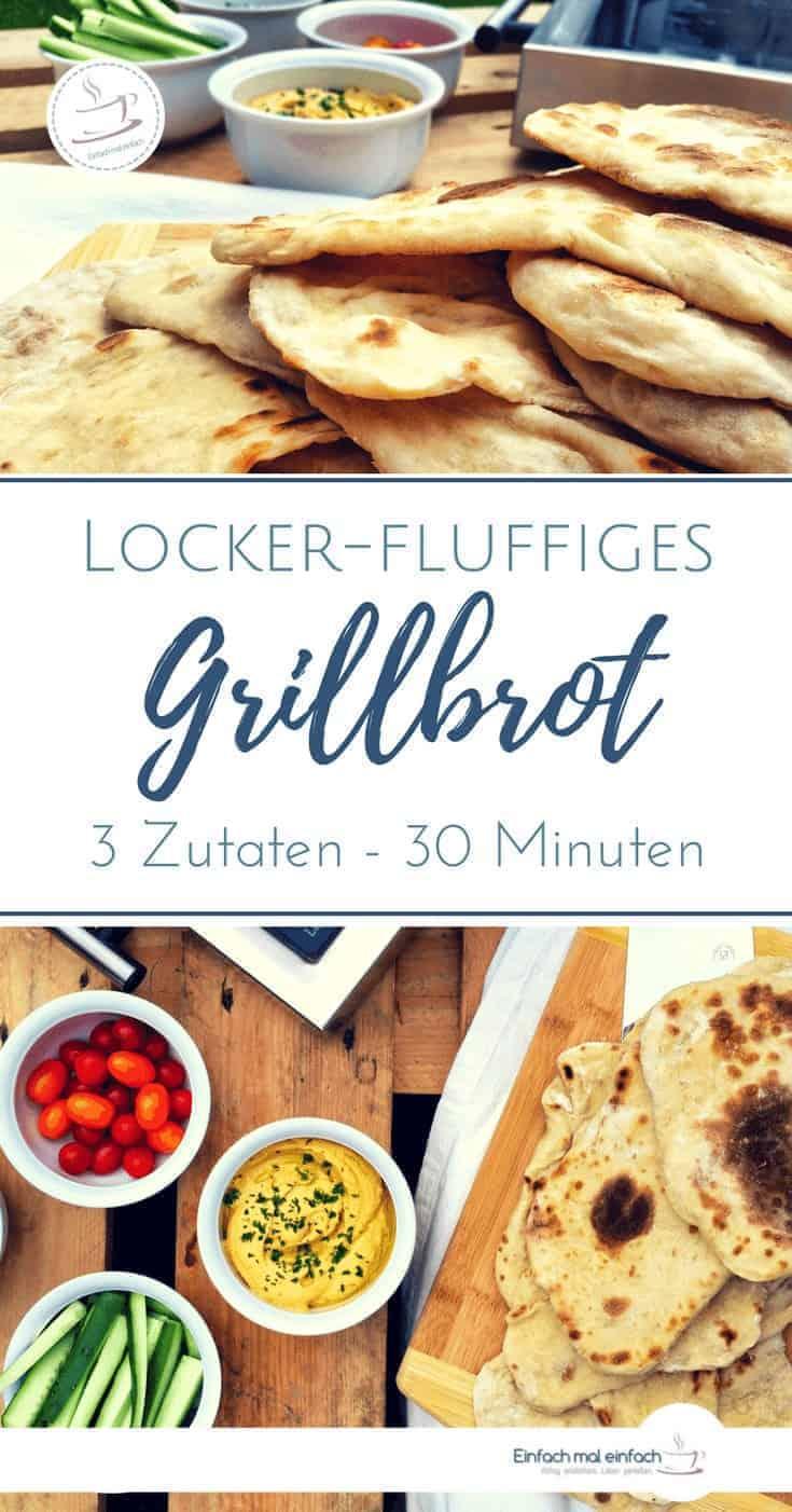 """Frische Fladenbrote vom Grill mit Dekoration. Text: """"Locker-fluffiges Grillbrot - 3 Zutaten - 30 Minuten"""""""