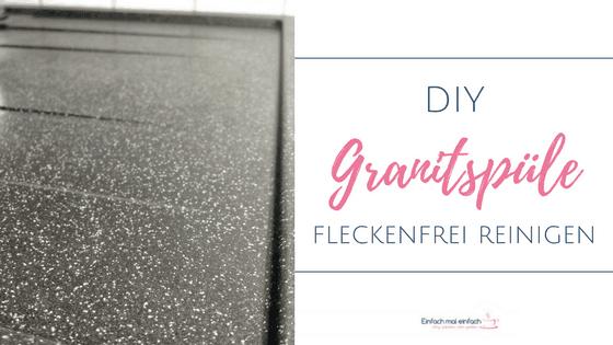 Saubere dunkle Granitspülenablage. Text: