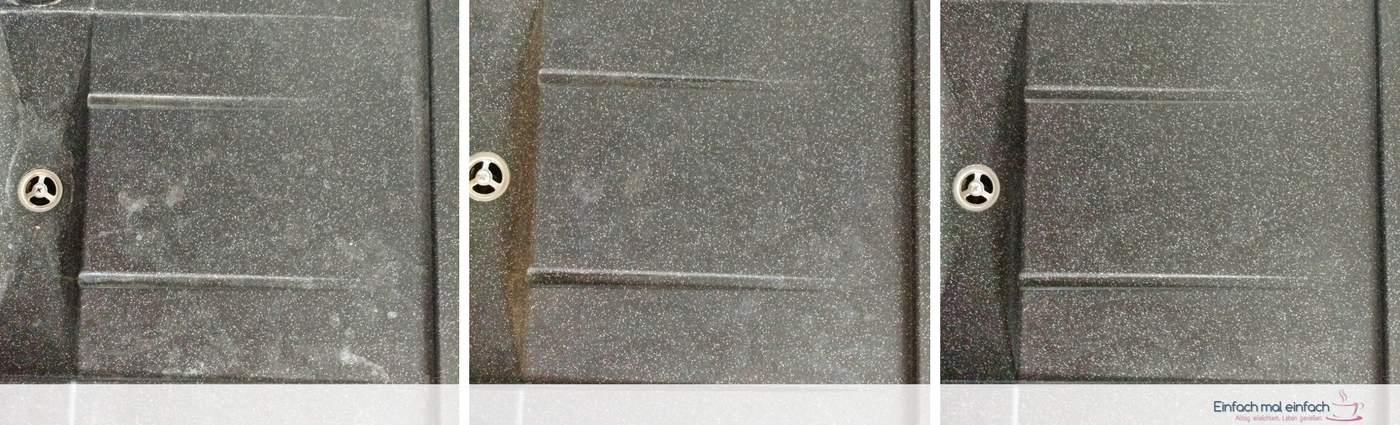 Collage aus drei Bildern einer dunklen Granitspüle - mit Flecken, nach der Reinigung mit helleren Flecken, nach der Ölbehandlung ohne Flecken.