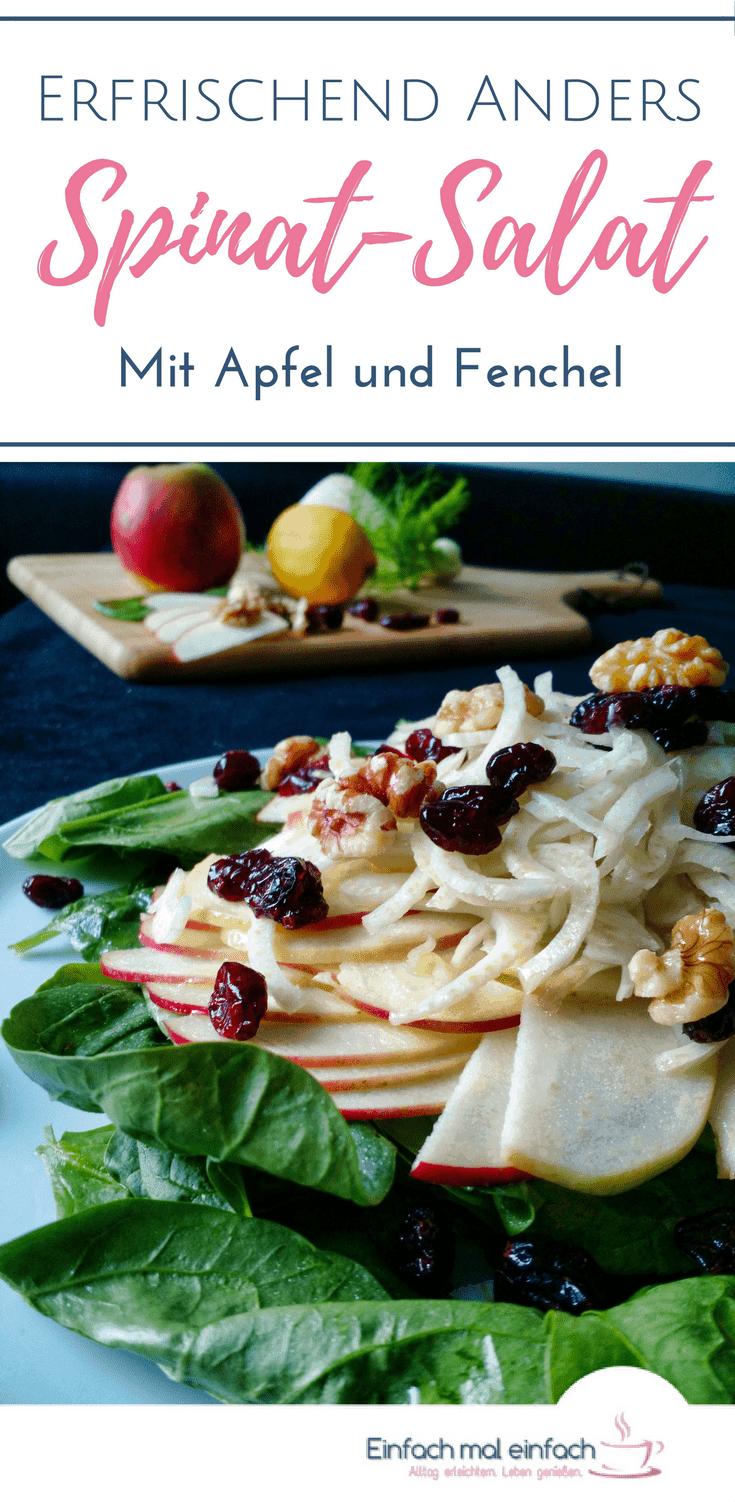 Wenn Du zum Abnehmen oder einfach als Beilage nach Ideen für einen Salat im Winter suchst, dann liegst Du mit diesem einfachen Rezept für einen gesunden Spinat Salat mit Fenchel und Apfel genau richtig. Cranberries und Walnüsse machen diesen Wintersalat zu einer vollen Mahlzeit.