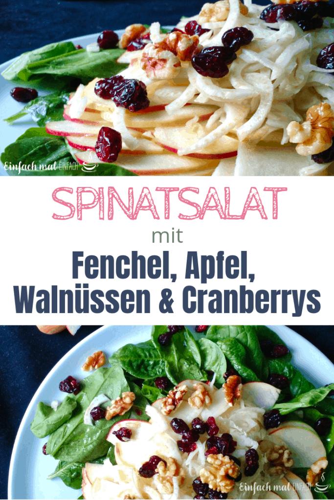 Spinatsalat mit Fenchel, Apfel, Walnüssen & Cranberrys