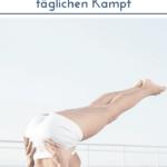 """Frau in Yoga-Stellung am Pool. Text:""""Sport ohne Stress - So ist Schluss mit dem täglichen Kampf"""""""