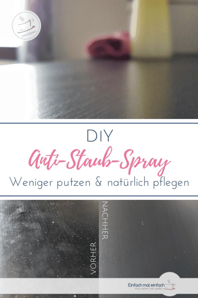 """Dunkle Möbeloberfläche mit vorher-nachher Kollage und glänzender Oberfläche. Text:""""DIY Anti-Staub-Spray - Weniger putzen & natürlich pflegen"""""""