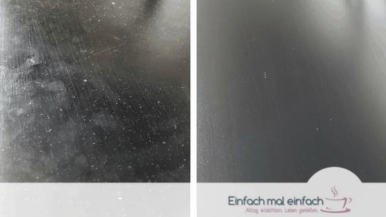 Collage aus schmutzig-staubiger Oberfläche links und glänzend saubere dunkle Holzoberfläche rechts