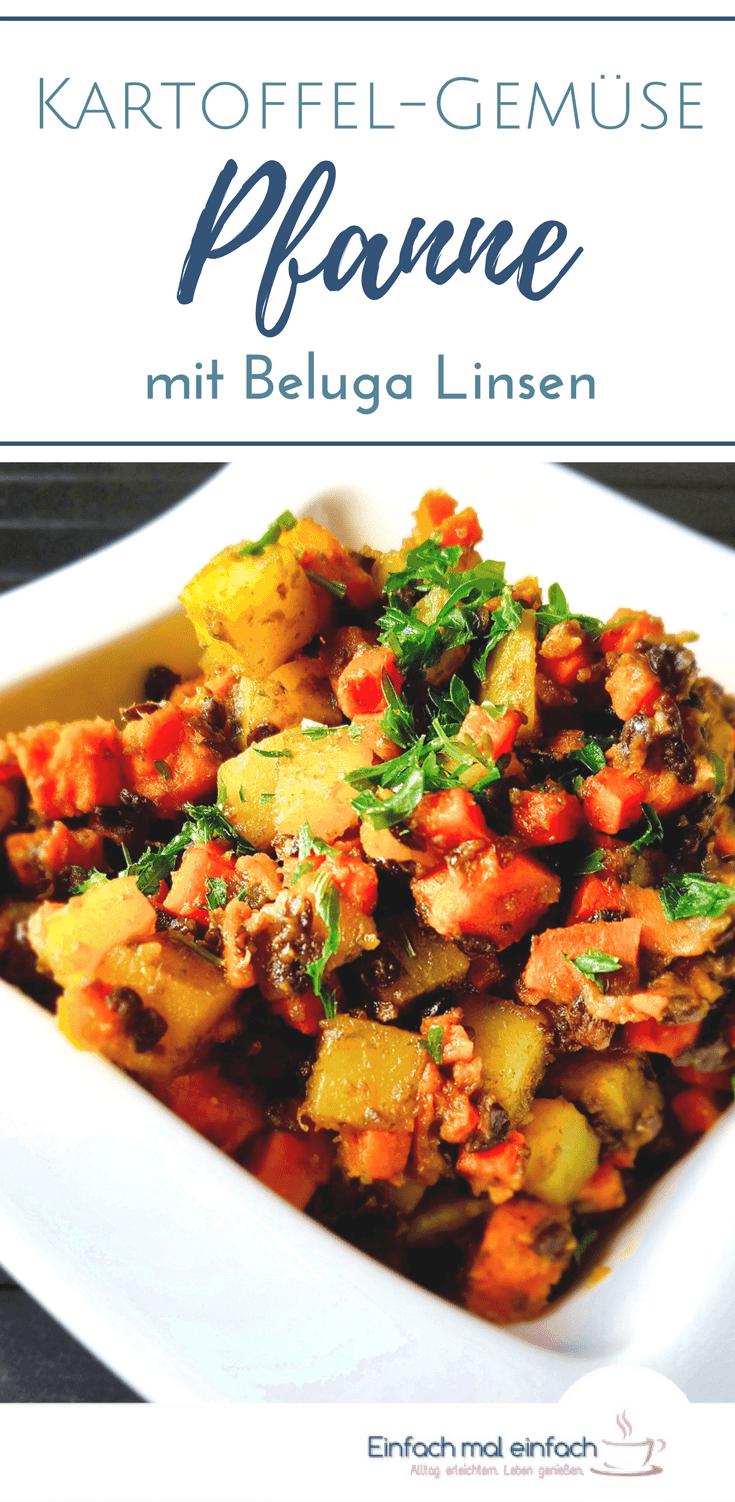 Wenn Du schnelle Kartoffel-Gemüse-Rezepte magst, dann wirst Du diese Pfanne mit Beluga Linsen lieben. Dieses leichte, vegetarische und optional vegane Gericht geht schnell, ist gesund. Mit Trick für Linsen-Skeptiker! #linsen #beluga #kartoffeln #gemüse #schnelleküche #pfanne