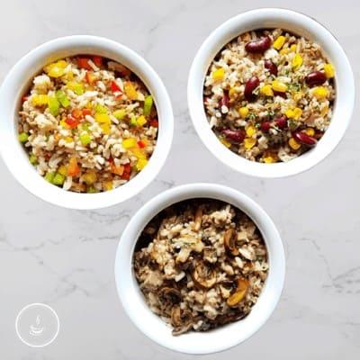 Hackfleisch-Reispfanne in drei Varianten