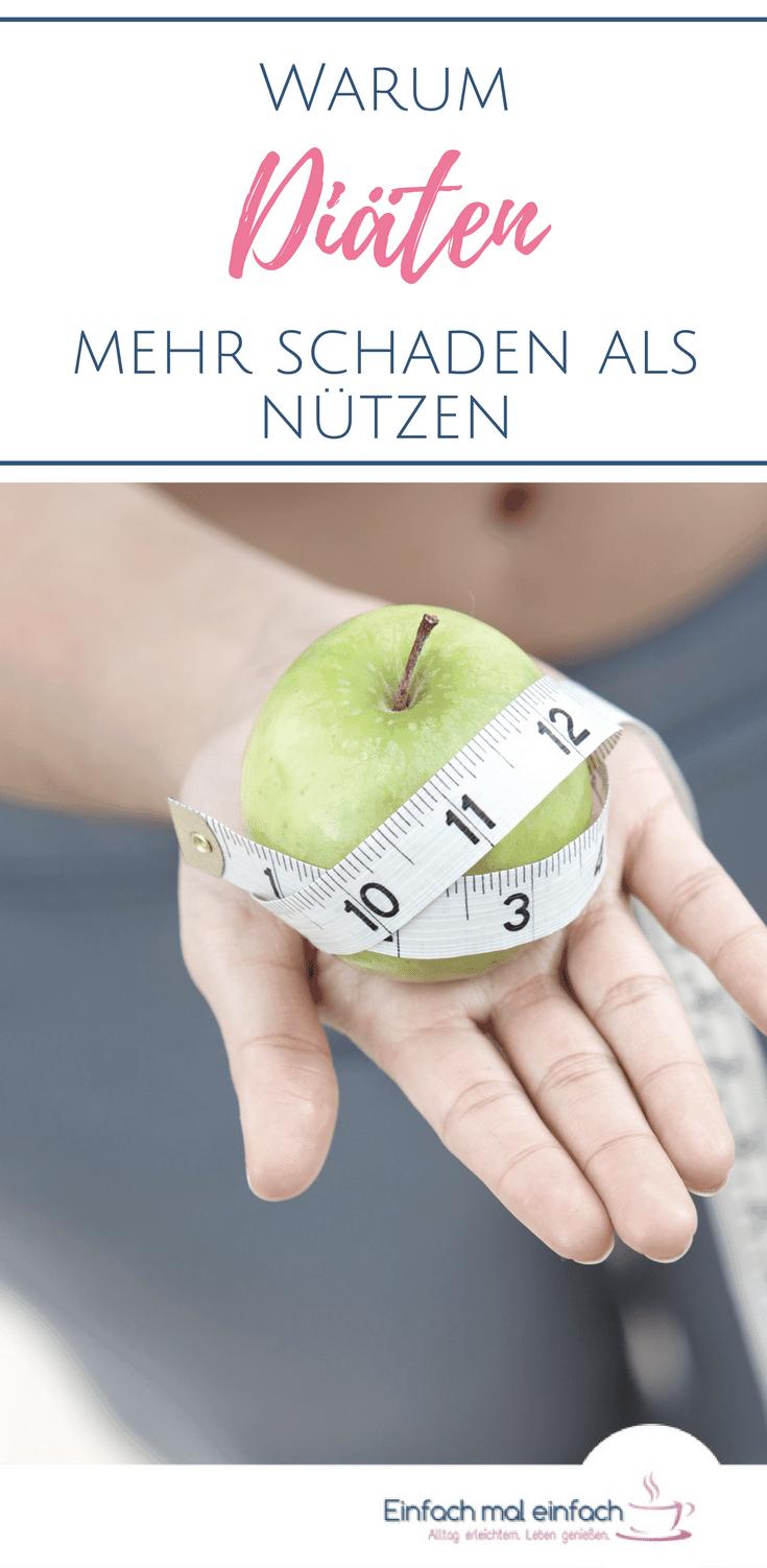 """Grüner Apfel mit Maßband darum auf Hand einer Frau. Text:""""Warum Diäten mehr schaden als nützen"""""""