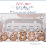 """Eier mit unterschiedlichen Gesichtsausdrücken aufgezeichnet im Eierkarton von Frau mit weißem Shirt gehalten. Text:""""Intuitiv essen - Gefühle ohne Essen bewältigen - #7 Badewanne statt Schokolade?"""""""