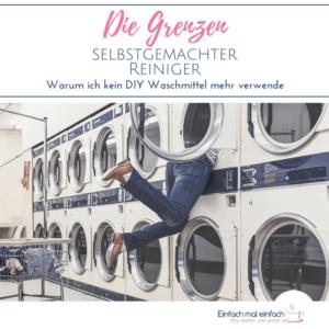 """Reihe von vielen Großwaschmaschinen. Eine Frau verschwindet mit ihrem Oberkörper in einer Maschine der oberen Reihe. Text:""""Die Grenzen selbstgemachter Reiniger - Warum ich kein DIY Waschmittel mehr verwende."""""""