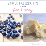"Collage of blueberries and hard cheese images. Text:""Simple freezer tips to save time & money"""