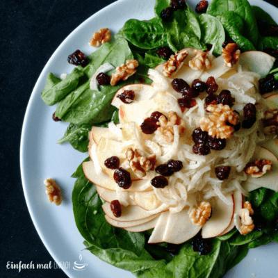 Spinat-Salat mit Apfel und Fenchel