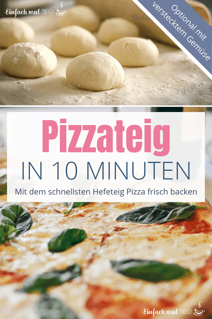 Ein schneller Pizzateig kann auch mit Hefe fast ohne Gehen gelingen. Während Du den Belag vorbereitest, ist der Teig fertig und einfach zu verarbeiten! Dieses Rezept liefert eine Pizza mit wundervoll knuspriger Kruste - und optional sogar noch verstecktes Gemüse! Finde heraus, wie das ganz einfach geht. #pizza #trockenhefe #schnell #einfach #pizzateig